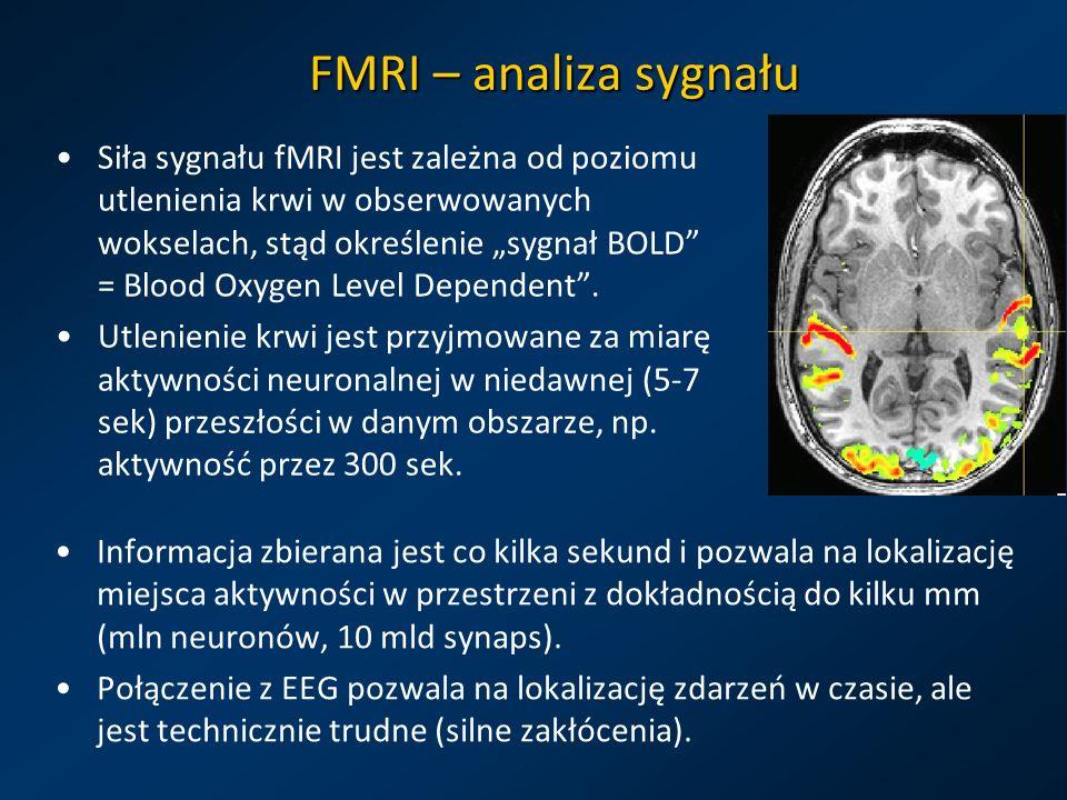 FMRI – analiza sygnału Siła sygnału fMRI jest zależna od poziomu utlenienia krwi w obserwowanych wokselach, stąd określenie sygnał BOLD = Blood Oxygen