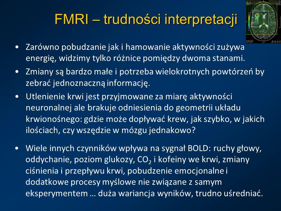 FMRI – trudności interpretacji Zarówno pobudzanie jak i hamowanie aktywności zużywa energię, widzimy tylko różnice pomiędzy dwoma stanami. Zmiany są b