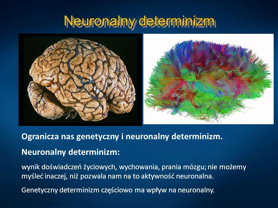 Neuronalny determinizm Ogranicza nas genetyczny i neuronalny determinizm. Neuronalny determinizm: wynik doświadczeń życiowych, wychowania, prania mózg