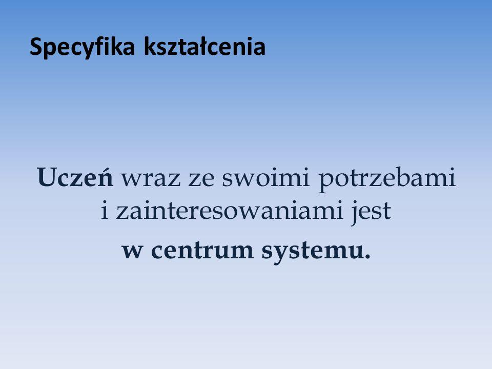 Specyfika kształcenia Uczeń wraz ze swoimi potrzebami i zainteresowaniami jest w centrum systemu.