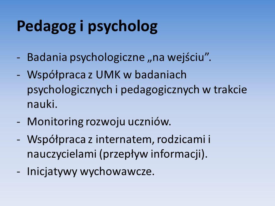 Pedagog i psycholog -Badania psychologiczne na wejściu. -Współpraca z UMK w badaniach psychologicznych i pedagogicznych w trakcie nauki. -Monitoring r