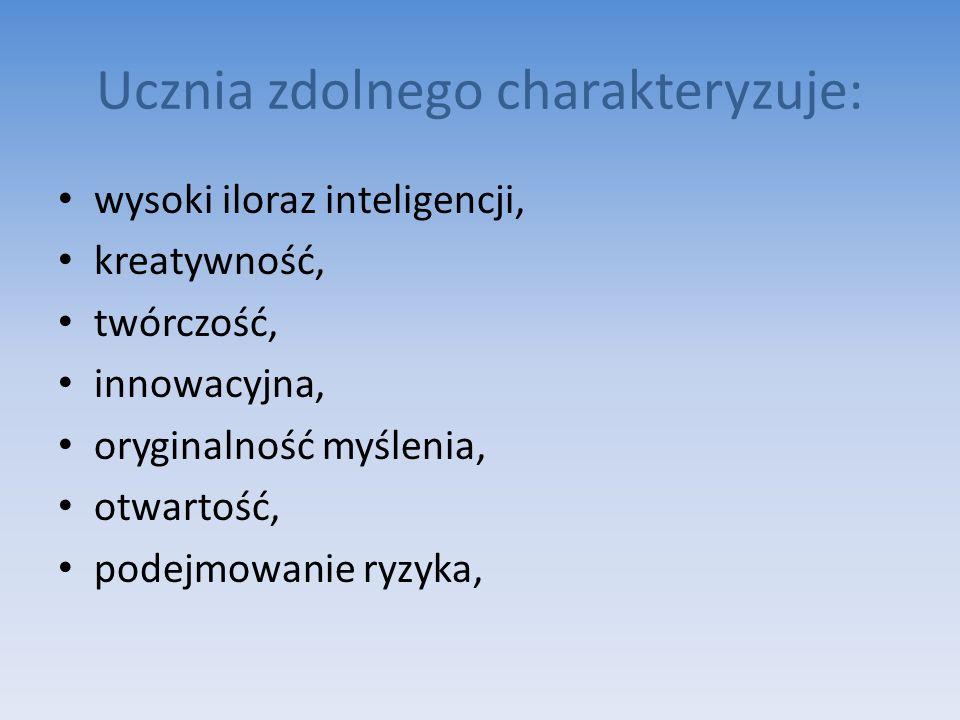 Ucznia zdolnego charakteryzuje: wysoki iloraz inteligencji, kreatywność, twórczość, innowacyjna, oryginalność myślenia, otwartość, podejmowanie ryzyka,