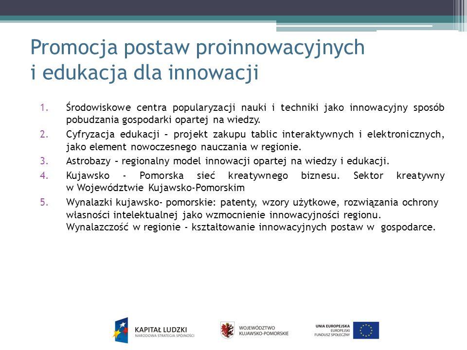 Promocja postaw proinnowacyjnych i edukacja dla innowacji 1.Środowiskowe centra popularyzacji nauki i techniki jako innowacyjny sposób pobudzania gosp