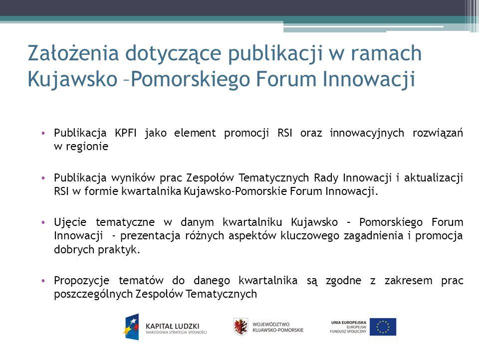 Założenia dotyczące publikacji w ramach Kujawsko –Pomorskiego Forum Innowacji Publikacja KPFI jako element promocji RSI oraz innowacyjnych rozwiązań w