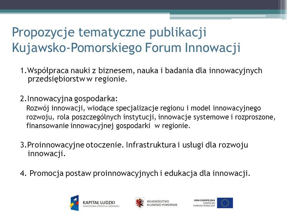 Propozycje tematyczne publikacji Kujawsko-Pomorskiego Forum Innowacji 1.Współpraca nauki z biznesem, nauka i badania dla innowacyjnych przedsiębiorstw