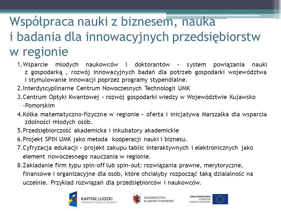 Współpraca nauki z biznesem, nauka i badania dla innowacyjnych przedsiębiorstw w regionie 1.Wsparcie młodych naukowców i doktorantów – system powiązan
