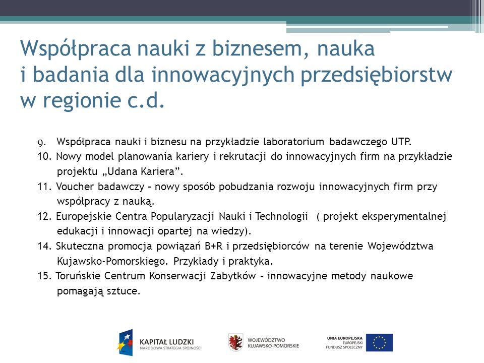 Współpraca nauki z biznesem, nauka i badania dla innowacyjnych przedsiębiorstw w regionie c.d. 9. Współpraca nauki i biznesu na przykładzie laboratori