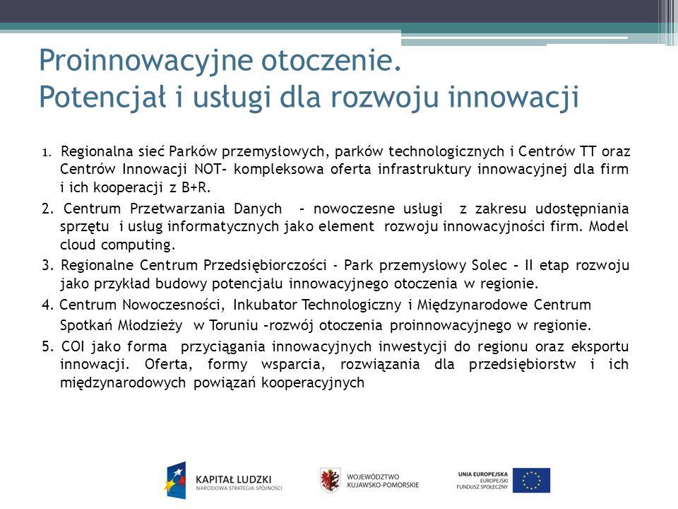Proinnowacyjne otoczenie. Potencjał i usługi dla rozwoju innowacji 1. Regionalna sieć Parków przemysłowych, parków technologicznych i Centrów TT oraz