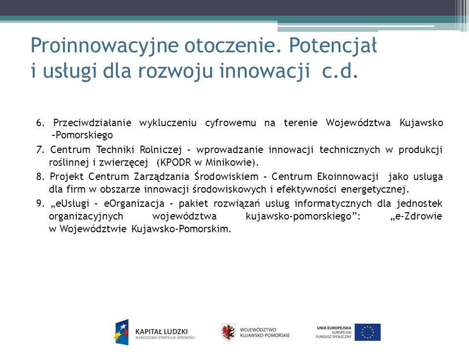 Proinnowacyjne otoczenie. Potencjał i usługi dla rozwoju innowacji c.d. 6. Przeciwdziałanie wykluczeniu cyfrowemu na terenie Województwa Kujawsko –Pom