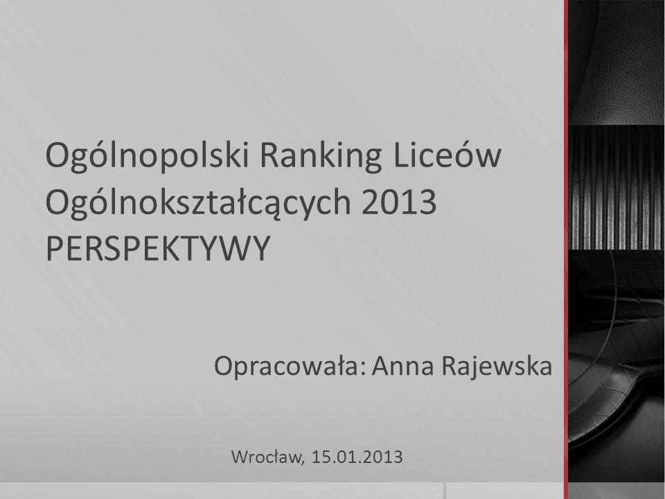 Ogólnopolski Ranking Liceów Ogólnokształcących 2013 PERSPEKTYWY Wrocław, 15.01.2013 Opracowała: Anna Rajewska
