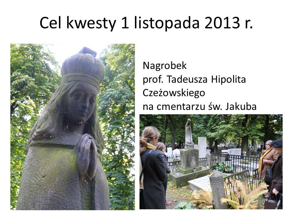 Cel kwesty 1 listopada 2013 r. Nagrobek prof. Tadeusza Hipolita Czeżowskiego na cmentarzu św. Jakuba