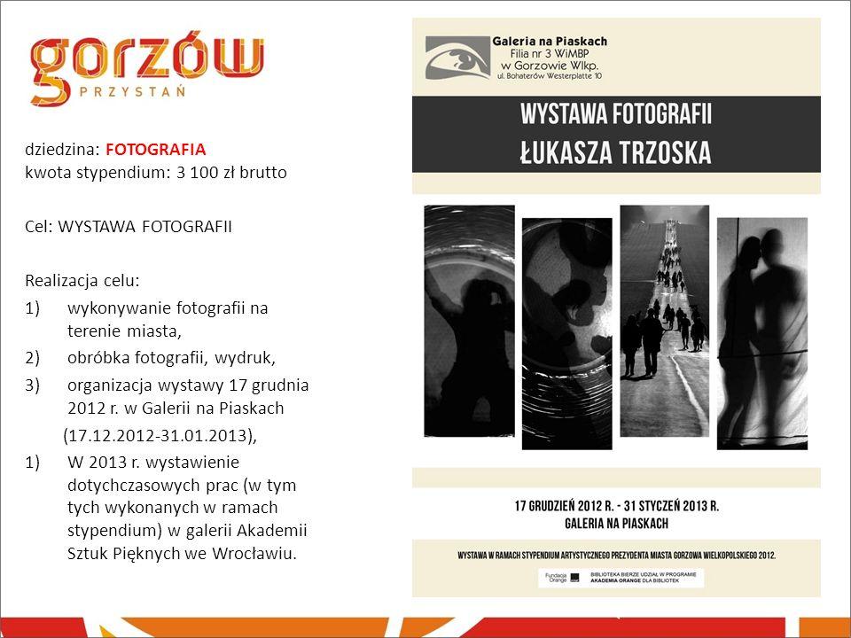 dziedzina: FOTOGRAFIA kwota stypendium: 3 100 zł brutto Cel: WYSTAWA FOTOGRAFII Realizacja celu: 1)wykonywanie fotografii na terenie miasta, 2)obróbka