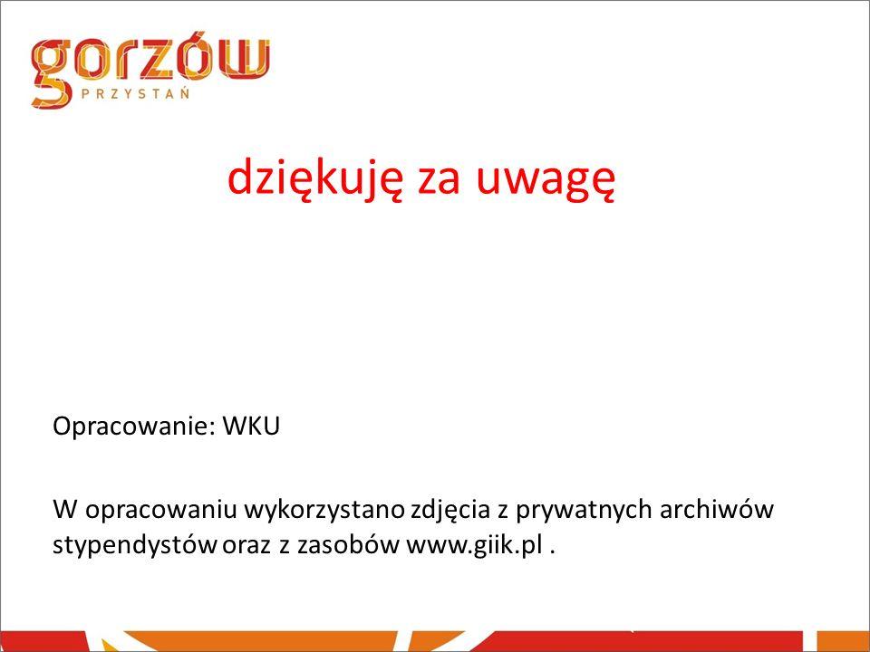 dziękuję za uwagę Opracowanie: WKU W opracowaniu wykorzystano zdjęcia z prywatnych archiwów stypendystów oraz z zasobów www.giik.pl.