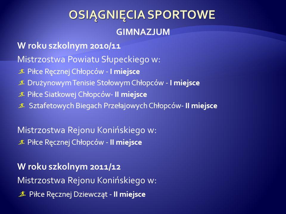 GIMNAZJUM W roku szkolnym 2010/11 Mistrzostwa Powiatu Słupeckiego w: Piłce Ręcznej Chłopców - I miejsce Drużynowym Tenisie Stołowym Chłopców - I miejs