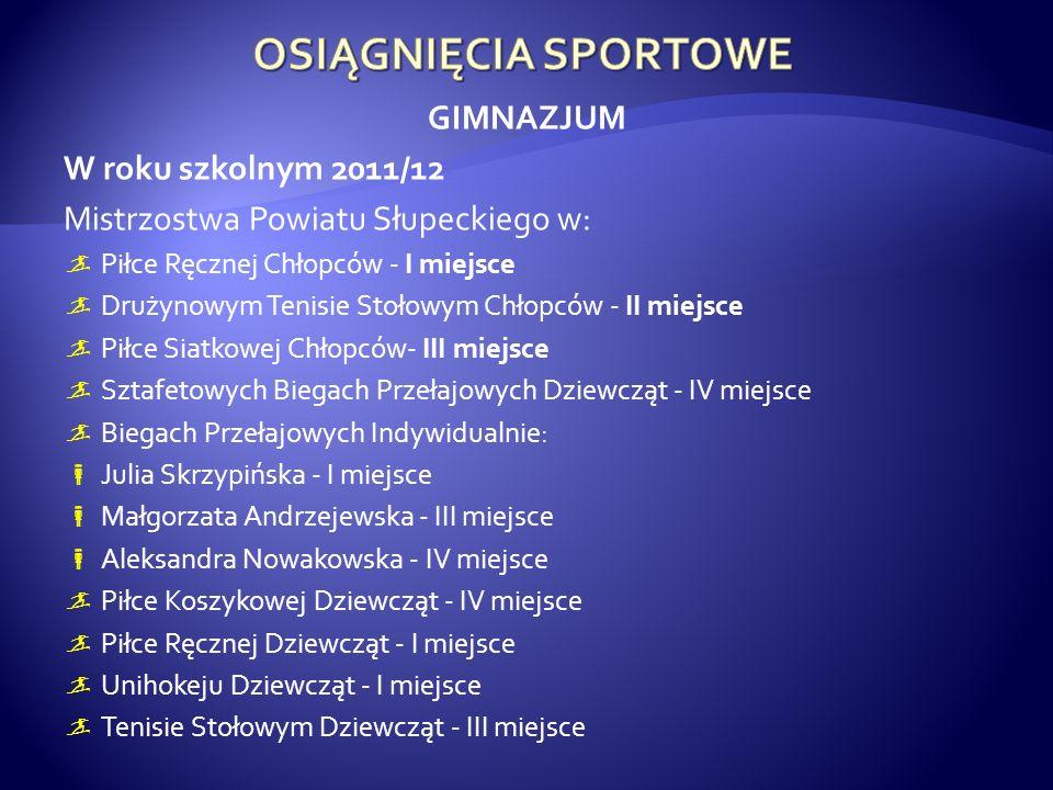 GIMNAZJUM W roku szkolnym 2011/12 Mistrzostwa Powiatu Słupeckiego w: Piłce Ręcznej Chłopców - I miejsce Drużynowym Tenisie Stołowym Chłopców - II miej