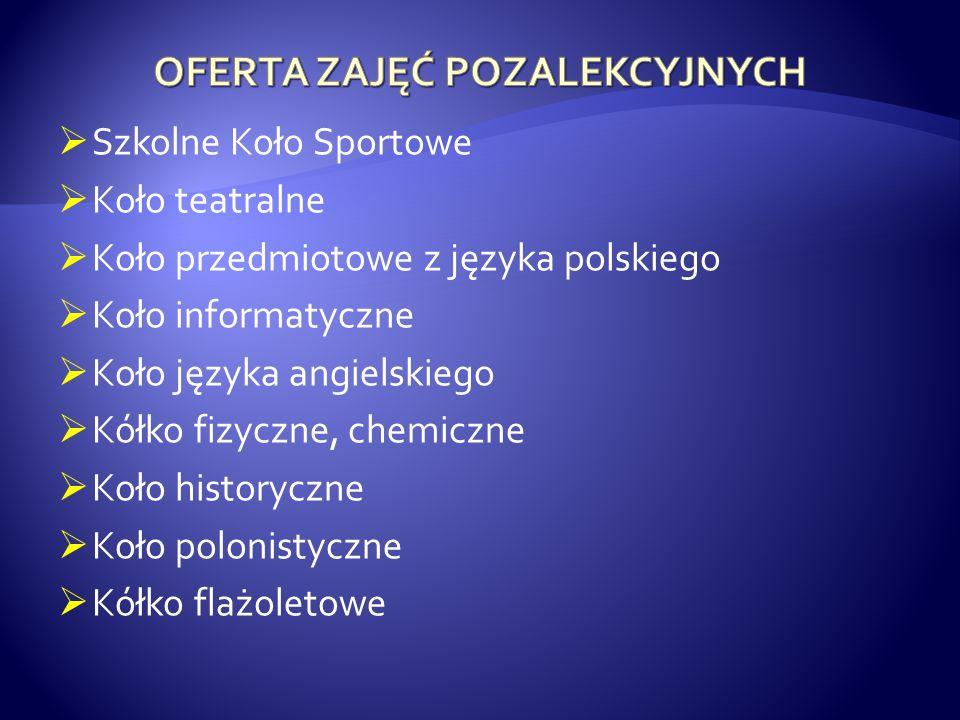 Szkolne Koło Sportowe Koło teatralne Koło przedmiotowe z języka polskiego Koło informatyczne Koło języka angielskiego Kółko fizyczne, chemiczne Koło h