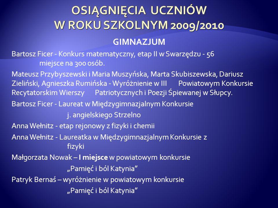 GIMNAZJUM Bartosz Ficer - Konkurs matematyczny, etap II w Swarzędzu - 56 miejsce na 300 osób. Mateusz Przybyszewski i Maria Muszyńska, Marta Skubiszew