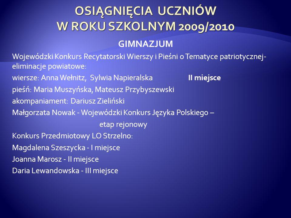 GIMNAZJUM Wojewódzki Konkurs Recytatorski Wierszy i Pieśni o Tematyce patriotycznej- eliminacje powiatowe: wiersze: Anna Wełnitz, Sylwia Napieralska I