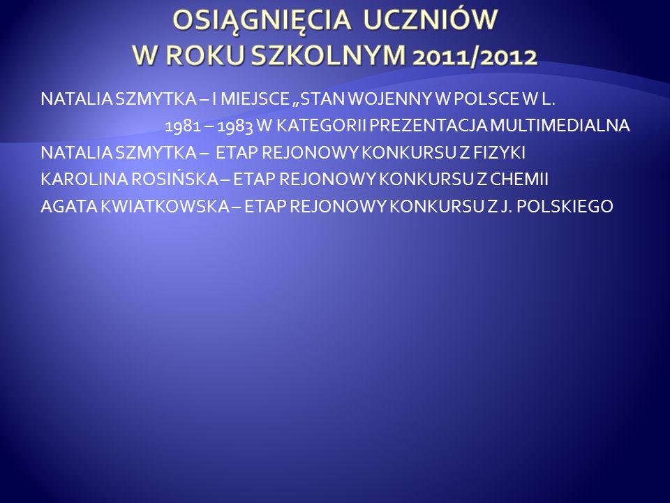 NATALIA SZMYTKA – I MIEJSCE STAN WOJENNY W POLSCE W L.