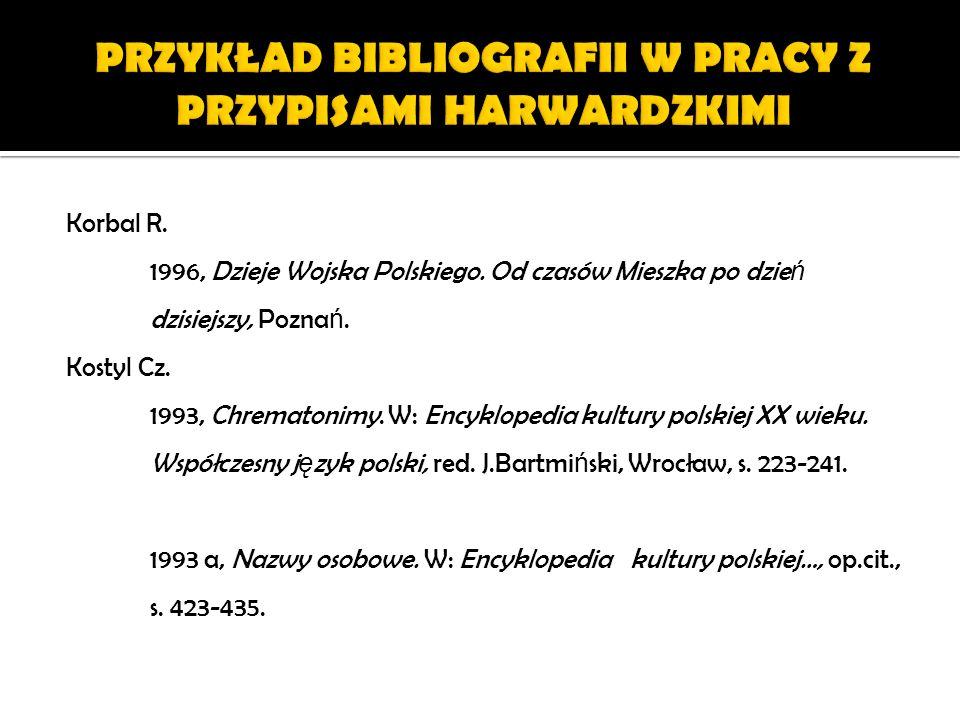 Korbal R. 1996, Dzieje Wojska Polskiego. Od czasów Mieszka po dzie ń dzisiejszy, Pozna ń. Kostyl Cz. 1993, Chrematonimy. W: Encyklopedia kultury polsk