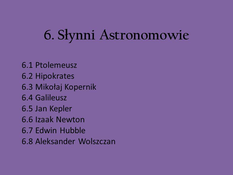 6. Słynni Astronomowie 6.1 Ptolemeusz 6.2 Hipokrates 6.3 Mikołaj Kopernik 6.4 Galileusz 6.5 Jan Kepler 6.6 Izaak Newton 6.7 Edwin Hubble 6.8 Aleksande