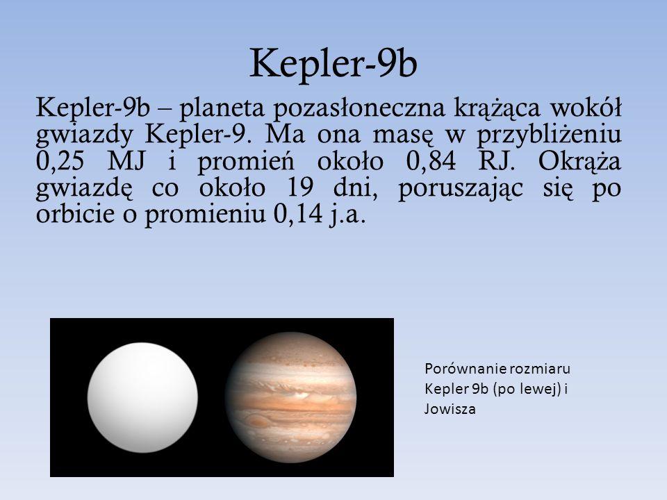Kepler-9b Kepler-9b – planeta pozas ł oneczna kr ążą ca wokó ł gwiazdy Kepler-9. Ma ona mas ę w przybli ż eniu 0,25 MJ i promie ń oko ł o 0,84 RJ. Okr
