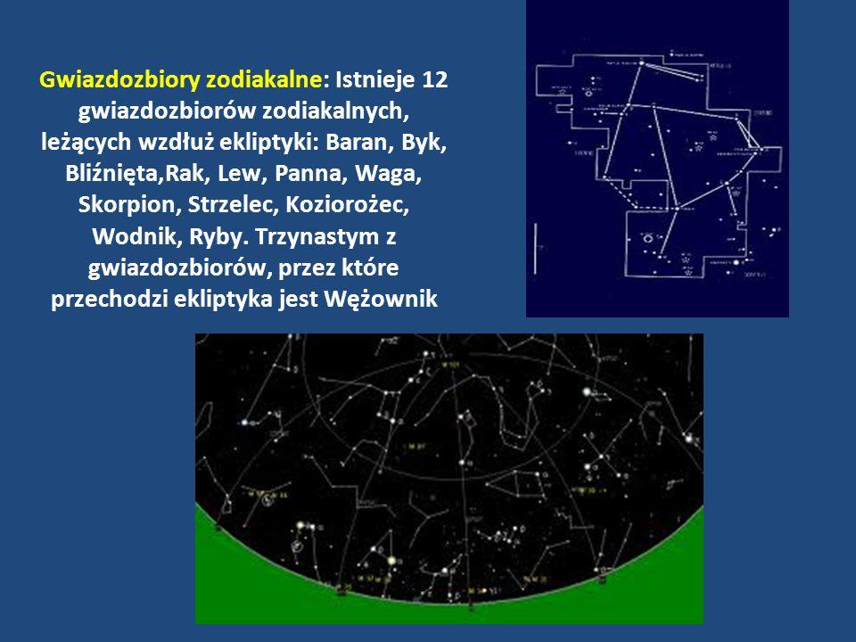 Gwiazdozbiory zodiakalne: Istnieje 12 gwiazdozbiorów zodiakalnych, leżących wzdłuż ekliptyki: Baran, Byk, Bliźnięta,Rak, Lew, Panna, Waga, Skorpion, S