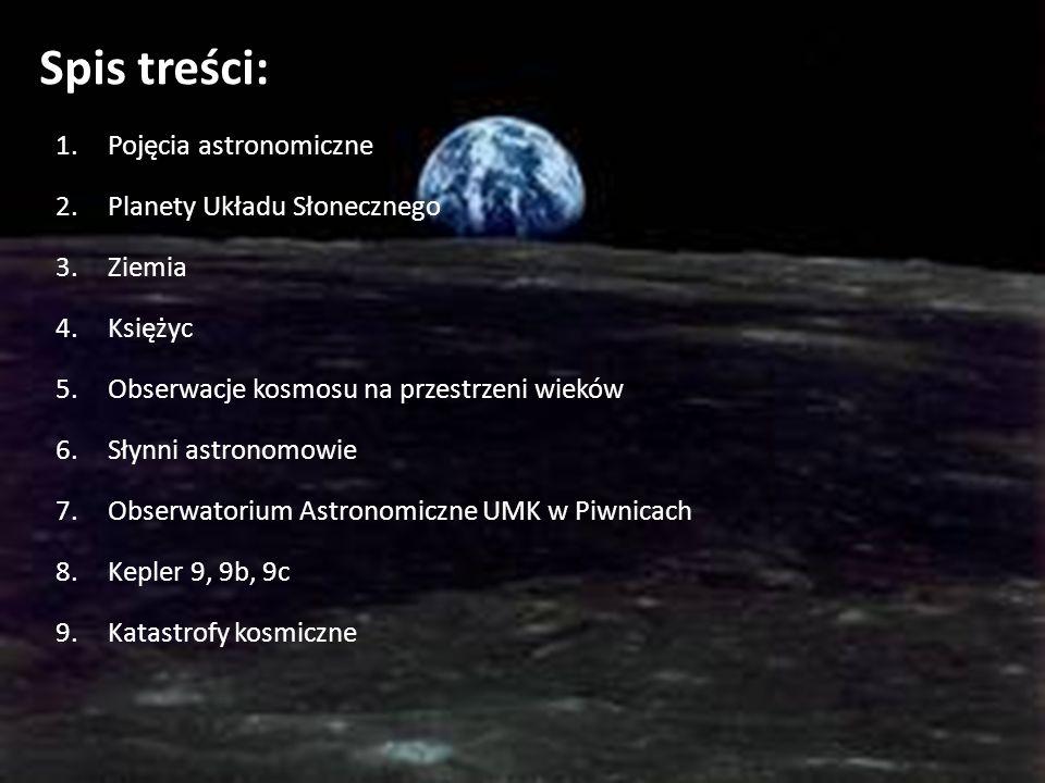 Spis treści: 1.Pojęcia astronomiczne 2.Planety Układu Słonecznego 3.Ziemia 4.Księżyc 5.Obserwacje kosmosu na przestrzeni wieków 6.Słynni astronomowie