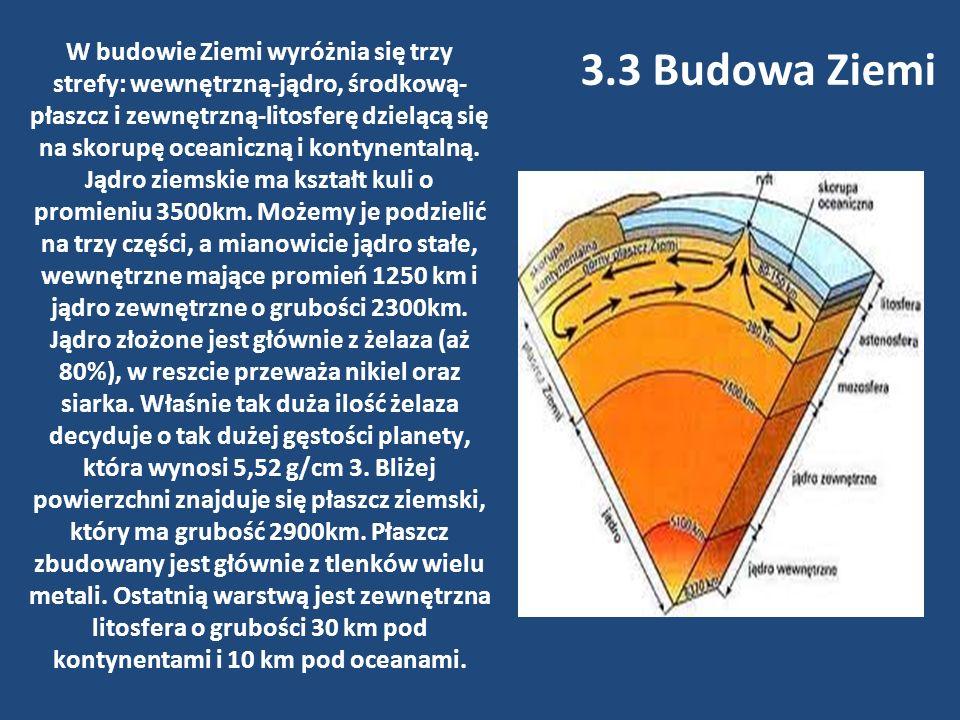 W budowie Ziemi wyróżnia się trzy strefy: wewnętrzną-jądro, środkową- płaszcz i zewnętrzną-litosferę dzielącą się na skorupę oceaniczną i kontynentaln