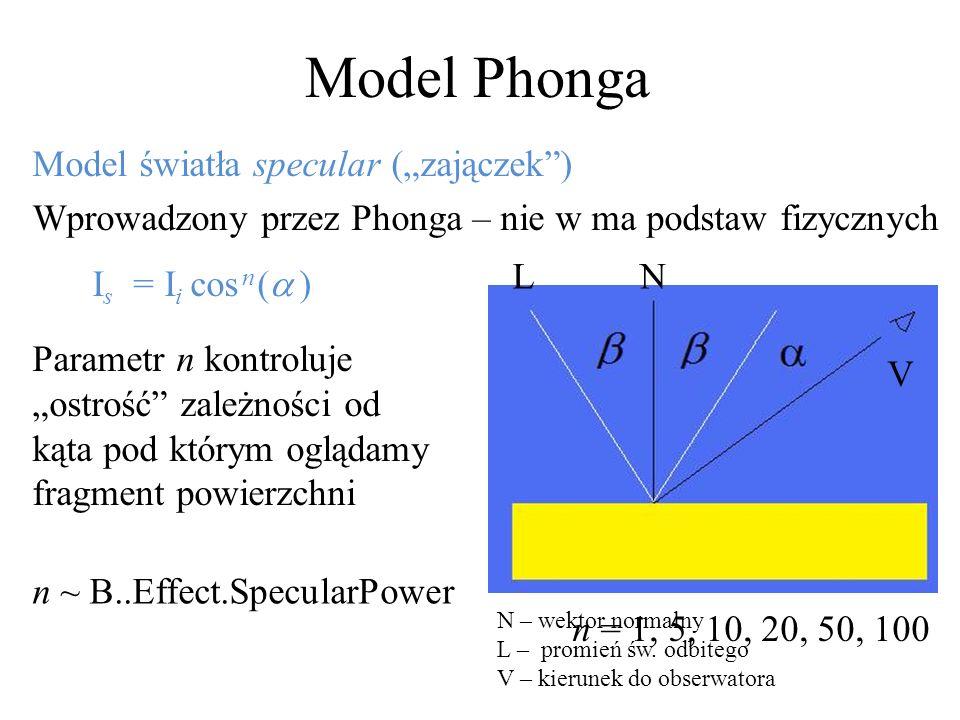 Model Phonga Model światła specular (zajączek) Wprowadzony przez Phonga – nie w ma podstaw fizycznych I s = I i cos n ( ) Parametr n kontroluje ostroś