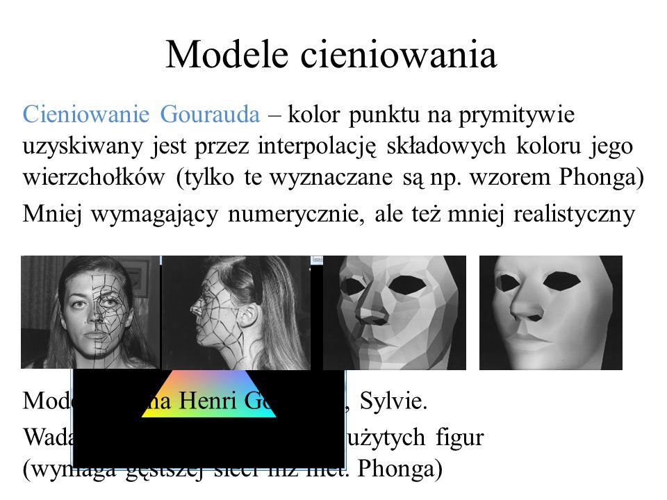 Modele cieniowania Cieniowanie Gourauda – kolor punktu na prymitywie uzyskiwany jest przez interpolację składowych koloru jego wierzchołków (tylko te