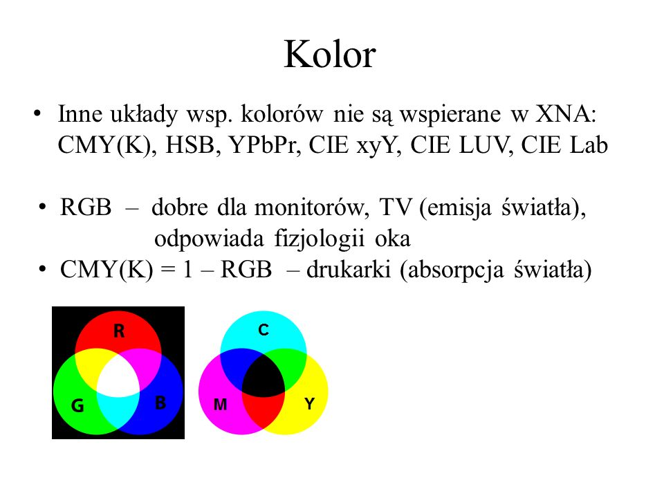 Kolor Inne układy wsp. kolorów nie są wspierane w XNA: CMY(K), HSB, YPbPr, CIE xyY, CIE LUV, CIE Lab RGB – dobre dla monitorów, TV (emisja światła), o