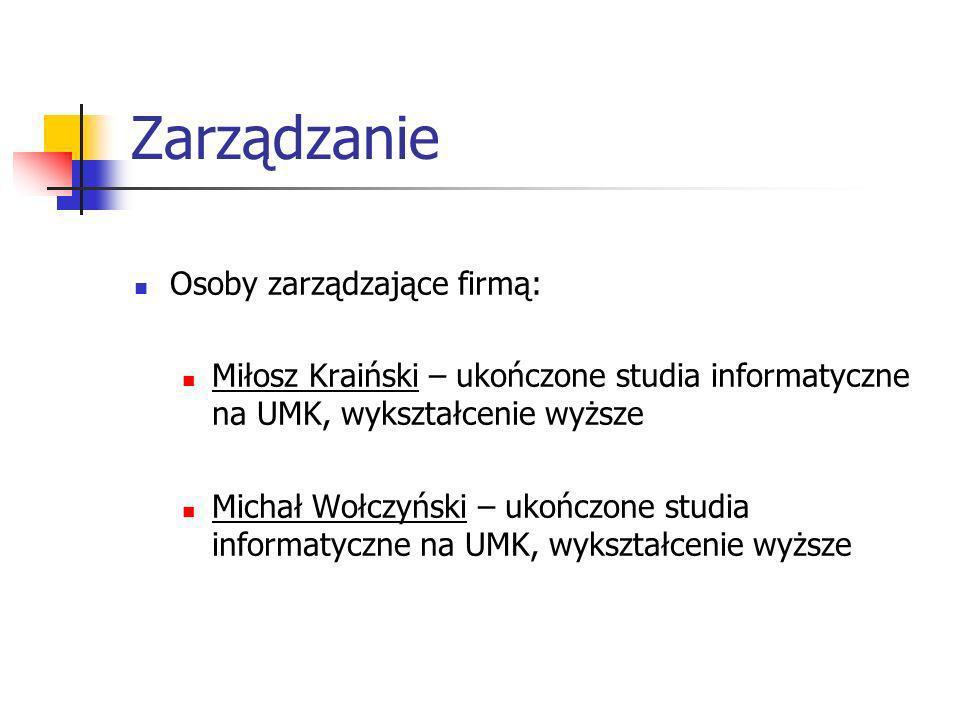 Zarządzanie Osoby zarządzające firmą: Miłosz Kraiński – ukończone studia informatyczne na UMK, wykształcenie wyższe Michał Wołczyński – ukończone stud