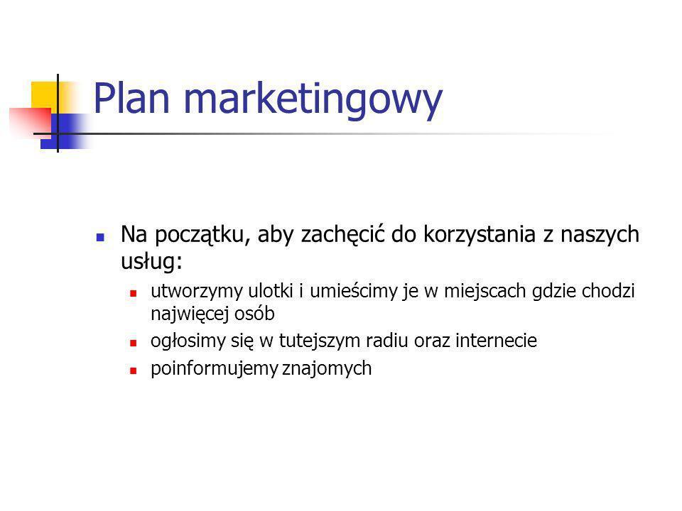 Plan marketingowy Na początku, aby zachęcić do korzystania z naszych usług: utworzymy ulotki i umieścimy je w miejscach gdzie chodzi najwięcej osób og