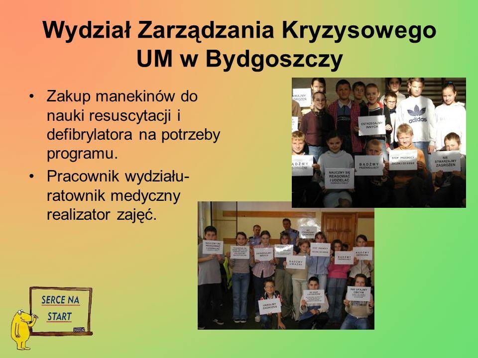 Wydział Zarządzania Kryzysowego UM w Bydgoszczy Zakup manekinów do nauki resuscytacji i defibrylatora na potrzeby programu.