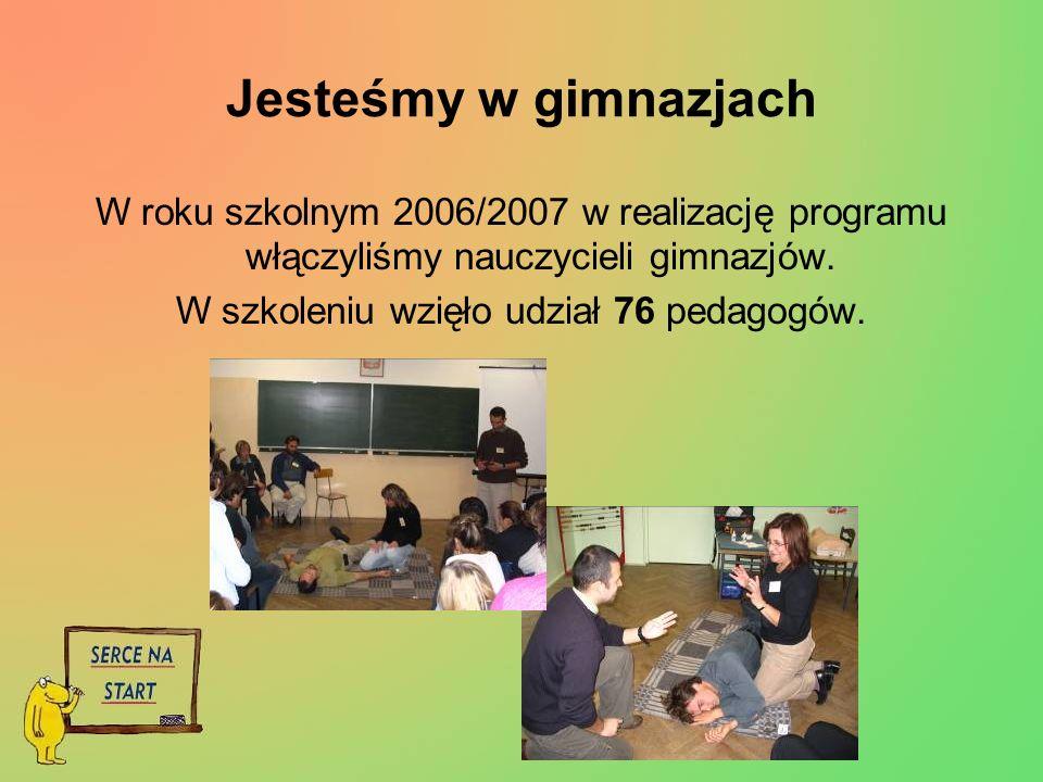 Jesteśmy w gimnazjach W roku szkolnym 2006/2007 w realizację programu włączyliśmy nauczycieli gimnazjów.