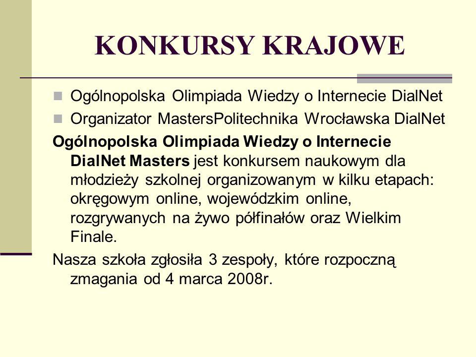 KONKURSY KRAJOWE Ogólnopolska Olimpiada Wiedzy o Internecie DialNet Organizator MastersPolitechnika Wrocławska DialNet Ogólnopolska Olimpiada Wiedzy o