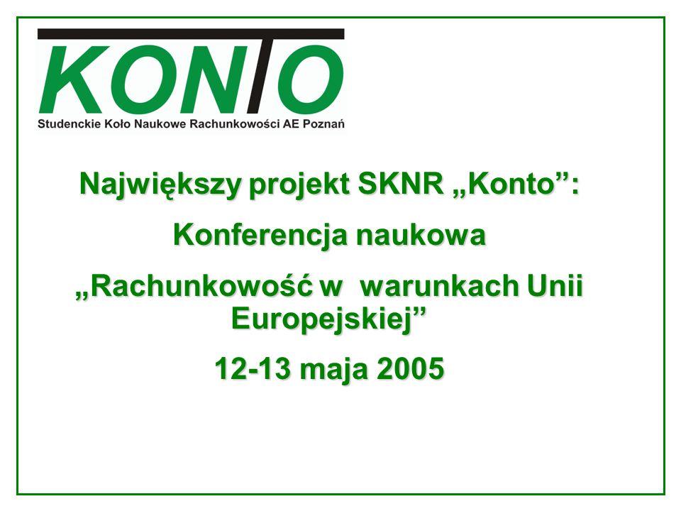 Największy projekt SKNR Konto: Konferencja naukowa Rachunkowość w warunkach Unii EuropejskiejRachunkowość w warunkach Unii Europejskiej 12-13 maja 200