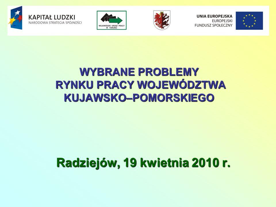 WYBRANE PROBLEMY RYNKU PRACY WOJEWÓDZTWA KUJAWSKO–POMORSKIEGO Radziejów, 19 kwietnia 2010 r.