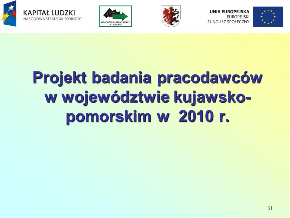 Projekt badania pracodawców w województwie kujawsko- pomorskim w 2010 r. 31