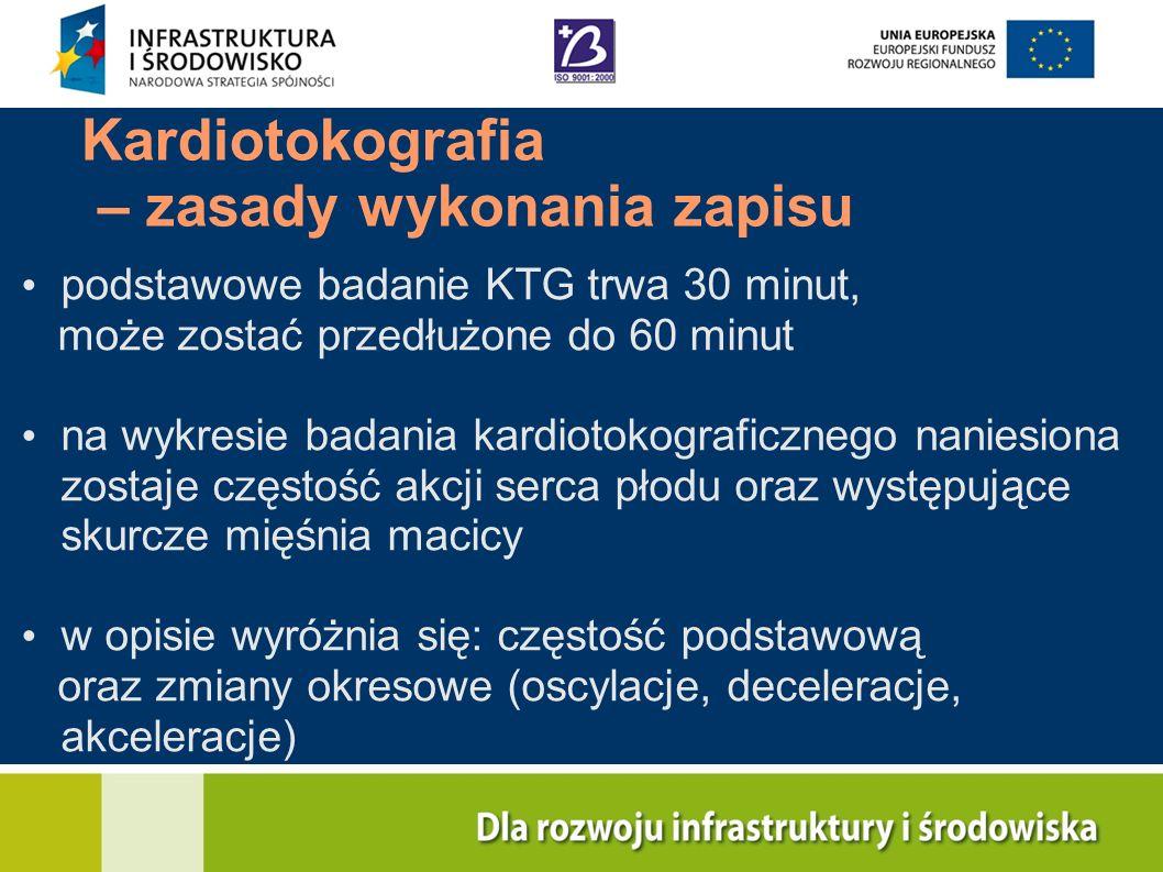 Kardiotokografia – zasady wykonania zapisu podstawowe badanie KTG trwa 30 minut, może zostać przedłużone do 60 minut na wykresie badania kardiotokogra