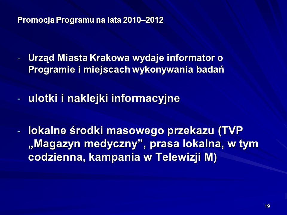 19 Promocja Programu na lata 2010–2012 - Urząd Miasta Krakowa wydaje informator o Programie i miejscach wykonywania badań - ulotki i naklejki informacyjne - lokalne środki masowego przekazu (TVP Magazyn medyczny, prasa lokalna, w tym codzienna, kampania w Telewizji M)