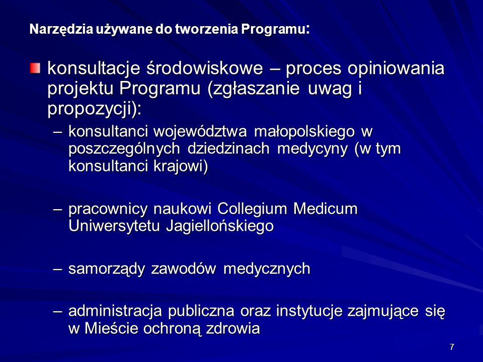 7 Narzędzia używane do tworzenia Programu : konsultacje środowiskowe – proces opiniowania projektu Programu (zgłaszanie uwag i propozycji): –konsultanci województwa małopolskiego w poszczególnych dziedzinach medycyny (w tym konsultanci krajowi) –pracownicy naukowi Collegium Medicum Uniwersytetu Jagiellońskiego –samorządy zawodów medycznych –administracja publiczna oraz instytucje zajmujące się w Mieście ochroną zdrowia