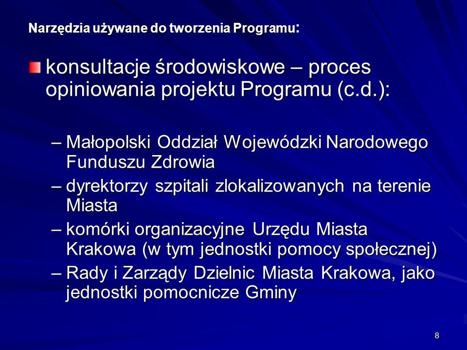 9 Narzędzia używane do tworzenia Programu : ocena uwarunkowań zdrowotnych (mierniki stanu zdrowia populacji Krakowa): –raporty o stanie zdrowia mieszkańców Krakowa za lata 2004 do 2009 (analiza epidemiologiczna i demograficzna) udział Urzędu Miasta Krakowa (Biuro ds.