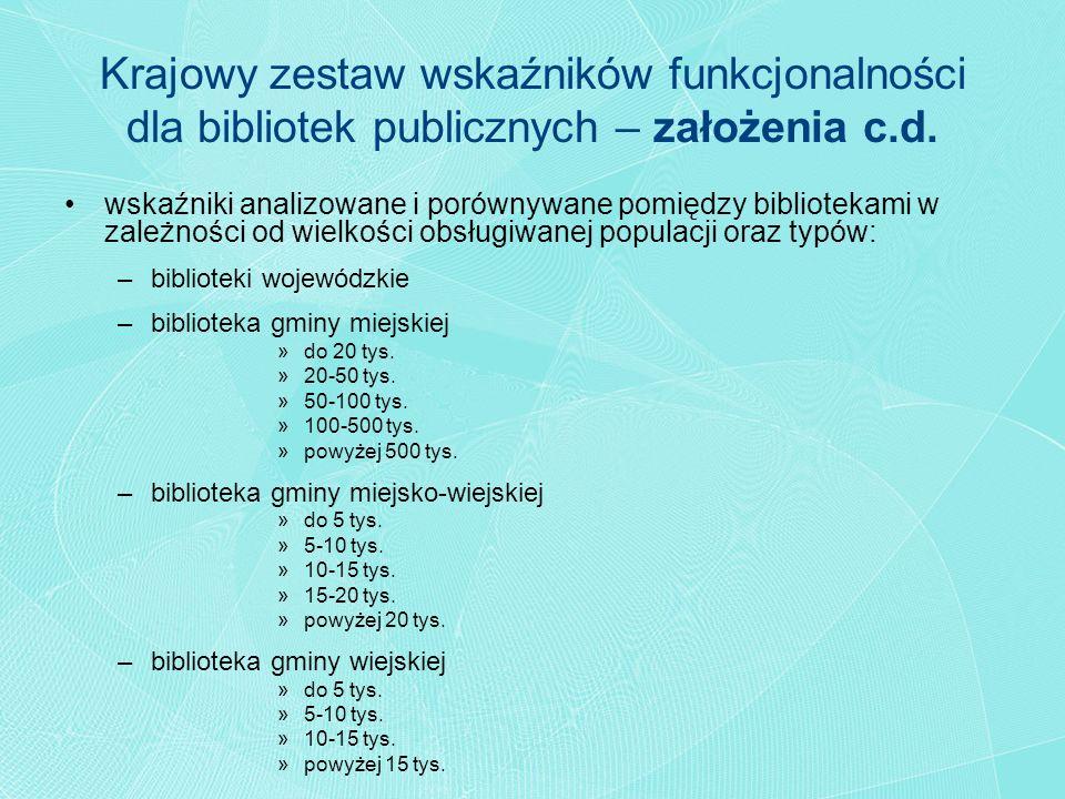 wskaźniki analizowane i porównywane pomiędzy bibliotekami w zależności od wielkości obsługiwanej populacji oraz typów: –biblioteki wojewódzkie –biblio