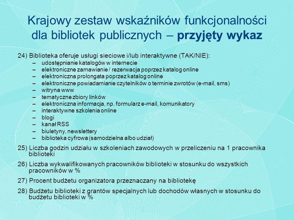 24) Biblioteka oferuje usługi sieciowe i/lub interaktywne (TAK/NIE): –udostępnianie katalogów w internecie –elektroniczne zamawianie / rezerwacja popr