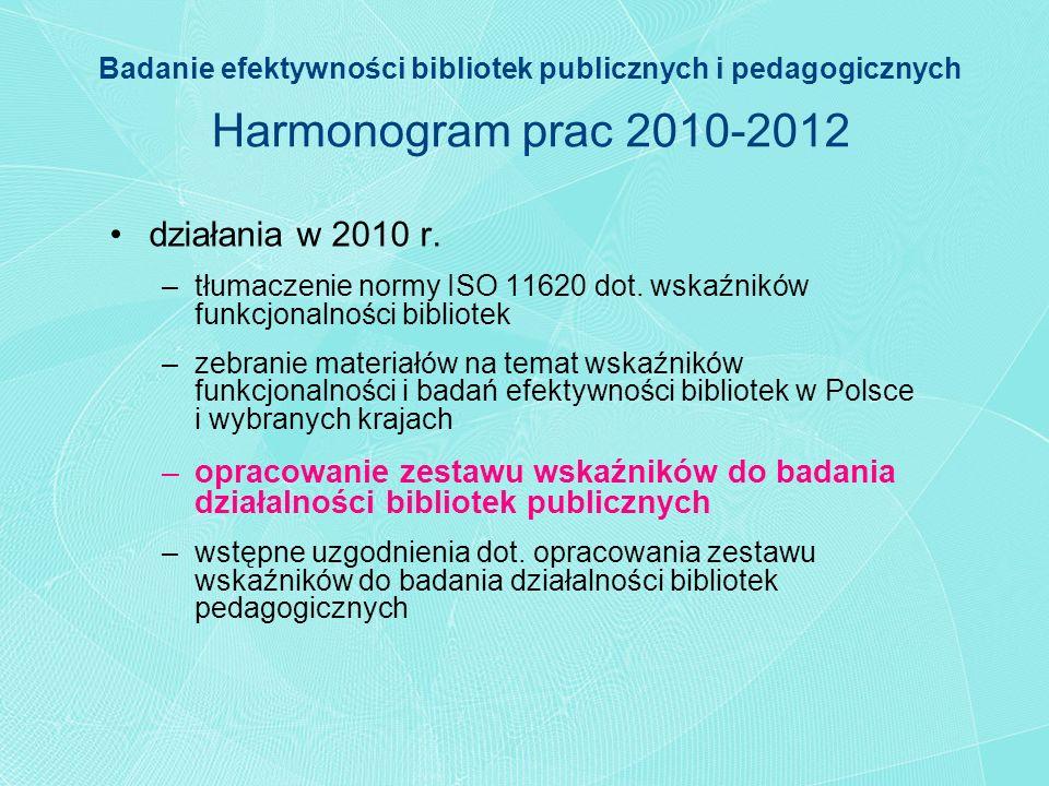 Badanie efektywności bibliotek publicznych i pedagogicznych Harmonogram prac 2010-2012 działania w 2010 r. –tłumaczenie normy ISO 11620 dot. wskaźnikó