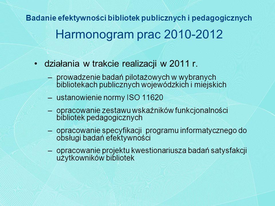 Badanie efektywności bibliotek publicznych i pedagogicznych Harmonogram prac 2010-2012 działania w trakcie realizacji w 2011 r. –prowadzenie badań pil