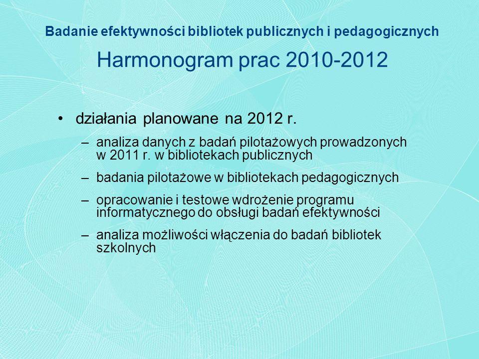 Badanie efektywności bibliotek publicznych i pedagogicznych Harmonogram prac 2010-2012 działania planowane na 2012 r. –analiza danych z badań pilotażo