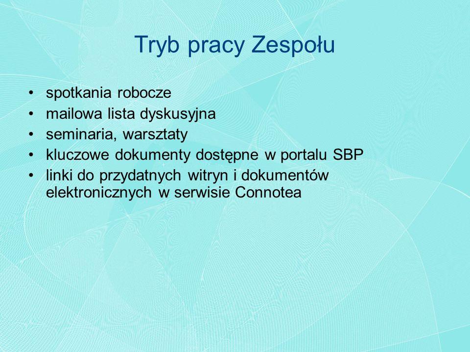 Tryb pracy Zespołu spotkania robocze mailowa lista dyskusyjna seminaria, warsztaty kluczowe dokumenty dostępne w portalu SBP linki do przydatnych witr